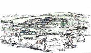 Алматы. Зона отдыха в ущелье Ой-Карагай. Контактный зоопарк. Вид снизу. 2020 г.