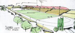 Размещение спортивного стадиона в логу
