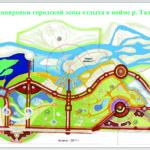 Эскиз планировки городской зоны отдыха в пойме р. Талас